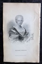 Jardine 1836 Antique Print. Portrait of Maria Merian